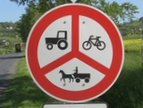 No cycles and agricultural vehicles